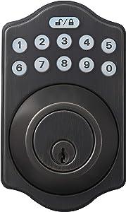 AmazonBasics Traditional Electronic Keypad Deadbolt Door Lock, Keyed Entry, Oil Rubbed Bronze