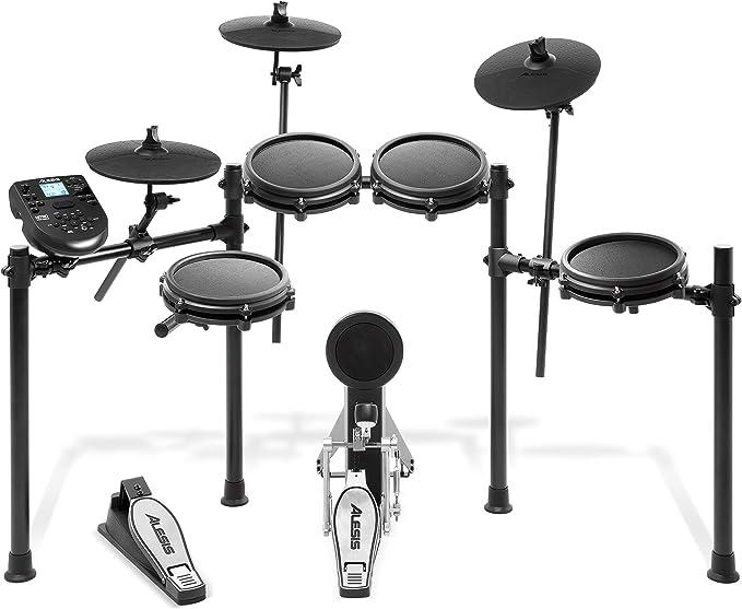 Alesis Nitro Mesh Kit - Batería Electrónica Musical de 8 Piezas con Cabezales de Malla, Rack Aluminio, 385 Sonidos, 60 Pistas para tocar, Baquetas, Cableado y llave de batería incluidos