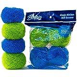 Bolrin Dish Scrubber - Scratch Free Hard Polyester For Dish Pot & Pan - 4 Pack Scourer (Green/Blue)