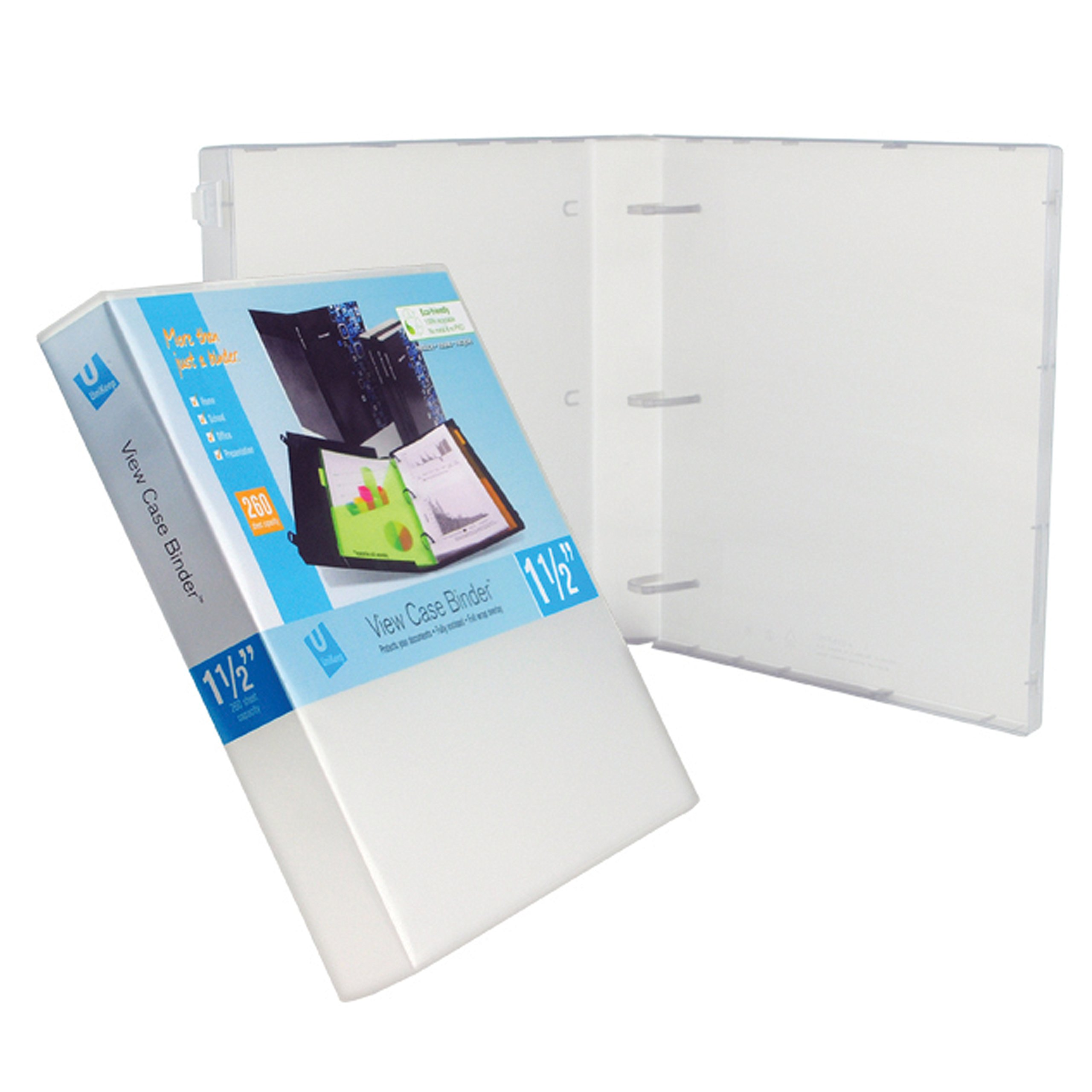 UniKeep 3 Ring Binder - Clear - Case View Binder - 1.5 Inch Spine - with Clear Outer Overlay - Box of 15 Binders by UniKeep