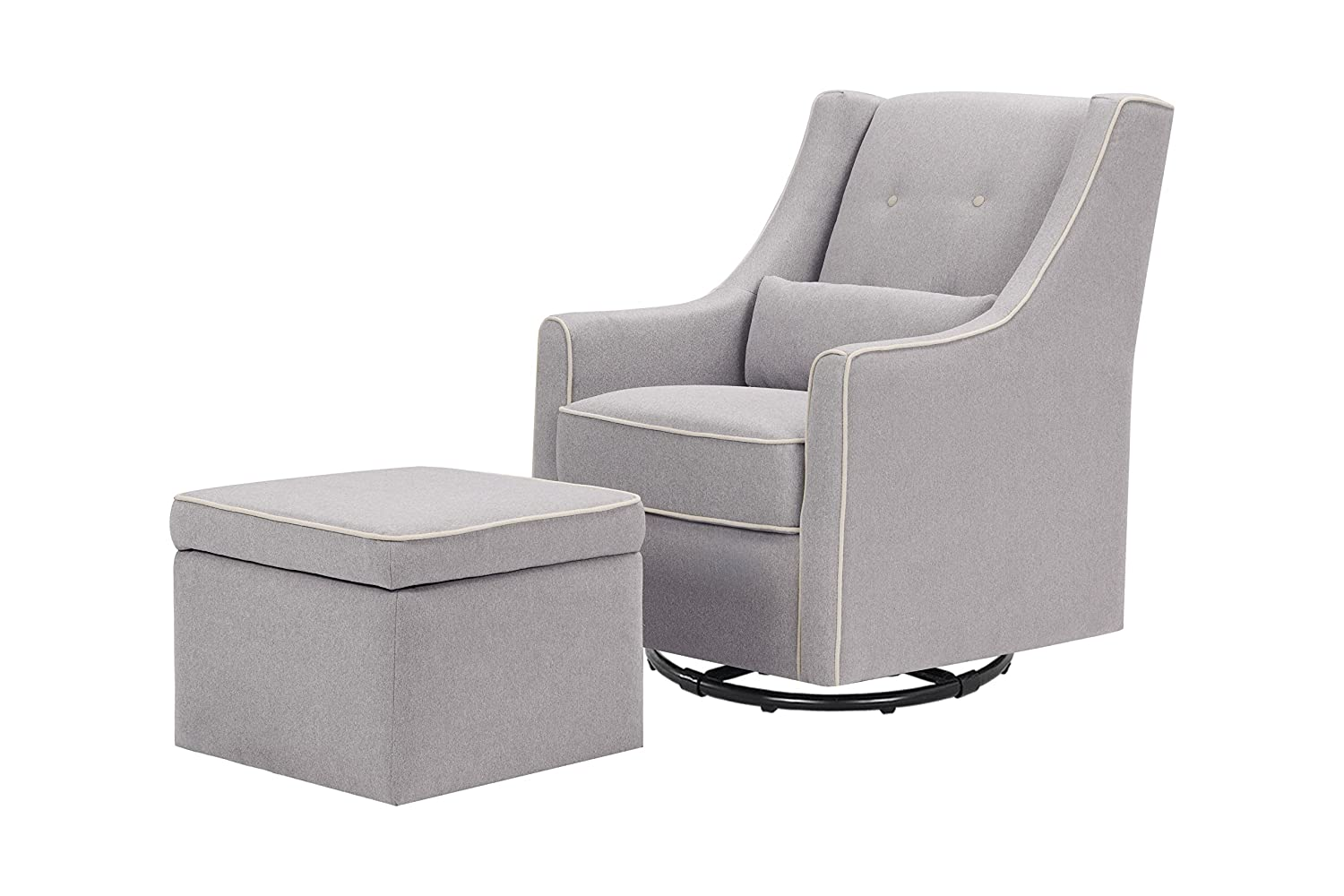 DaVinci Owen Glider and Storage Ottoman, Grey with Cream Piping