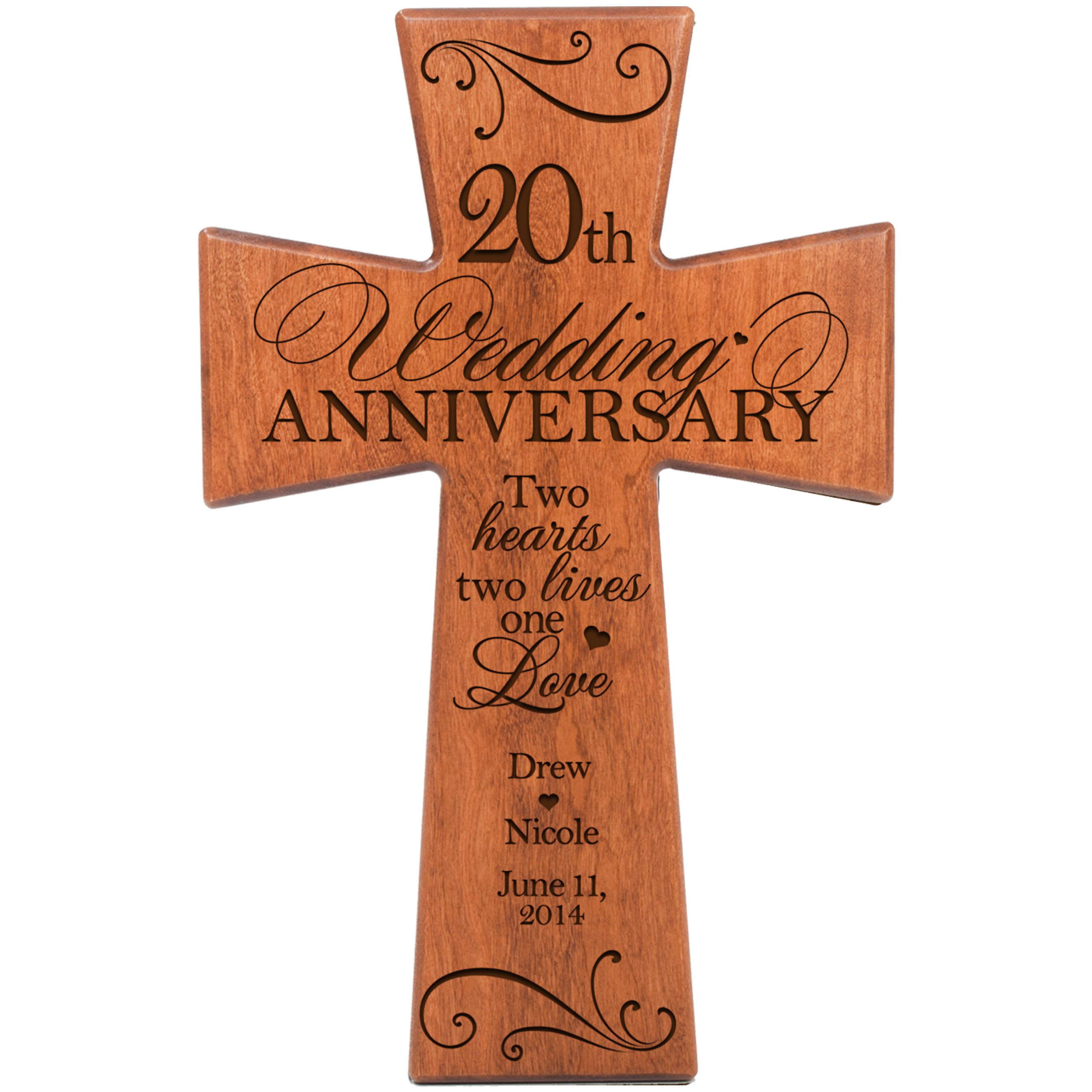 Personalized 20th Wedding Anniversary Cherry Wood Wall Cross Gift for Couple 20 Year for Her, for Him Two Hearts Two Lives One Love (7'' x 11'') by LifeSong Milestones