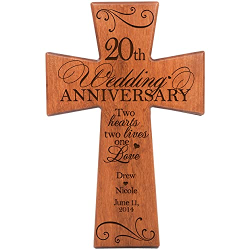 Personalized 20th Wedding Anniversary Cherry Wood Wall Cross Gift for Couple 20 Year for Her, for Him Two Hearts Two Lives One Love 7 x 11
