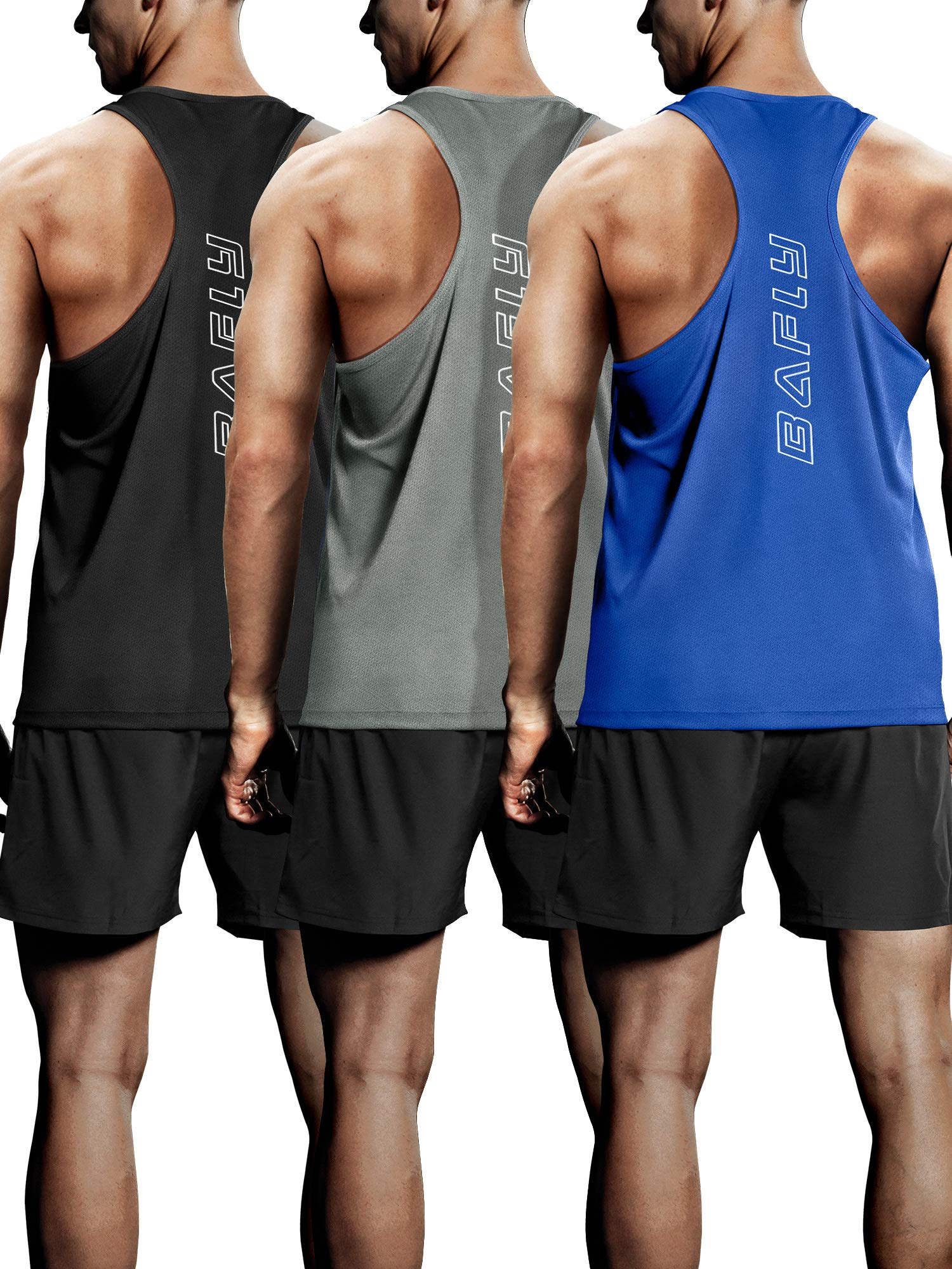 Bafly Men's 3 Pack Workout Tank Tops Dry Fit Y-Back Gym Muscle Sleeveless Training Tank by Bafly