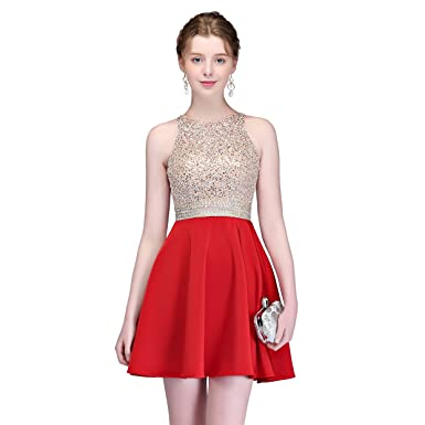 fedd3b6d6e4 MEILIS Women s Short Satin Beading Homecoming Dresses 2018 Junior ...