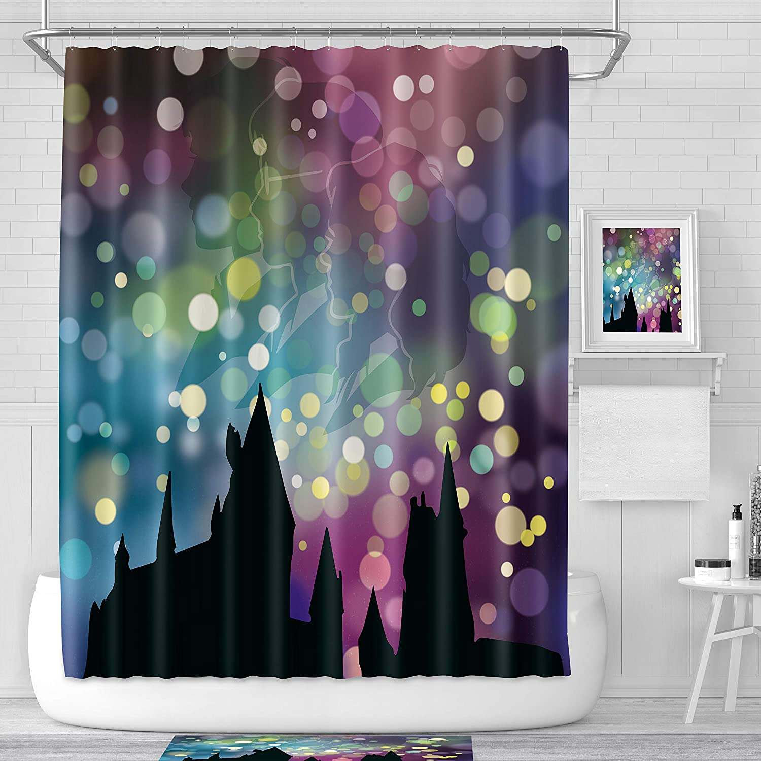LIGHTINHOME Nicolas Cage Beside Blue Ocean Shower Curtain Set Stone Polyester Waterproof Fabric Shower Curtain Panel 72x72 Inch with 12-Pack Plastic Metal Shower Hooks for Bathtub YKKJ
