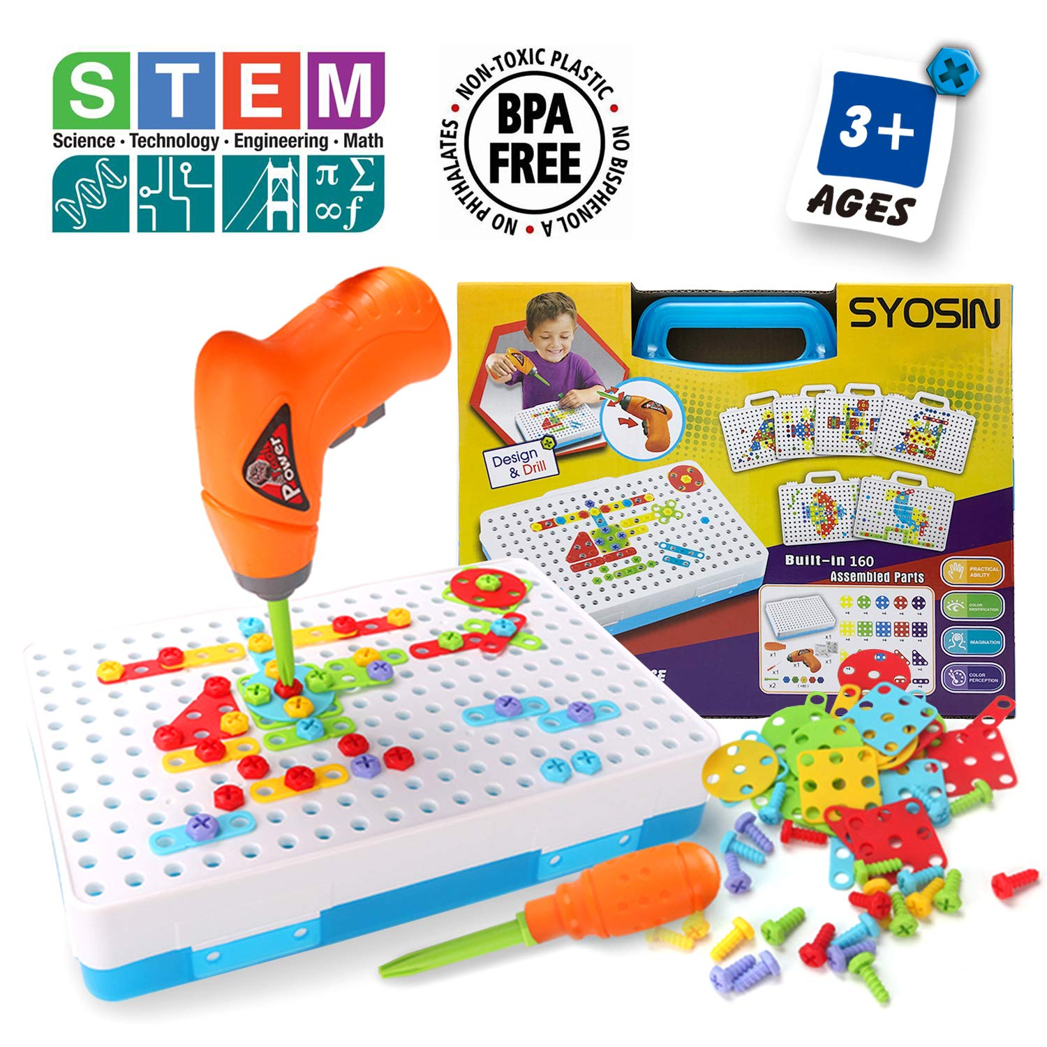 SYOSIN Design and Drill Play Set Creative Puzzle Assembly DIY STEM Educational Toys Building Blocks 160 Pieces for Kids