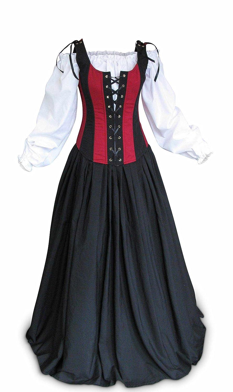 Renaissance Faire Wench Pirate Gown Medieval Dress 3 Piece Set
