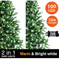 2 in 1 Warm and Bright White Green Cable Mains Powered