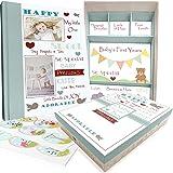 Baby Memory Book w/ Keepsake Box & 30 Monthly & Baby First Milestone Stickers - Gender Neutral Scrapbook Album for Boys & Gir
