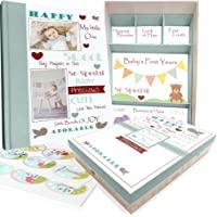 Baby Memory Book w/ Keepsake Box & 30 Monthly & Baby First Milestone Stickers - Gender Neutral Scrapbook Album for Boys…