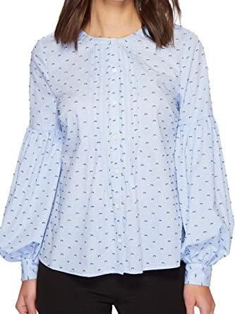 cb9551c6 CeCe Women's Bubble Sleeve Mini Check Pintuck Blouse at Amazon Women's  Clothing store:
