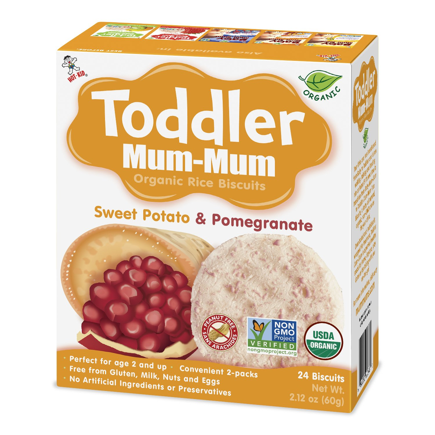 Toddler Mum-Mum Organic Sweet Potato & Pomegranate, 6-Count Want-Want