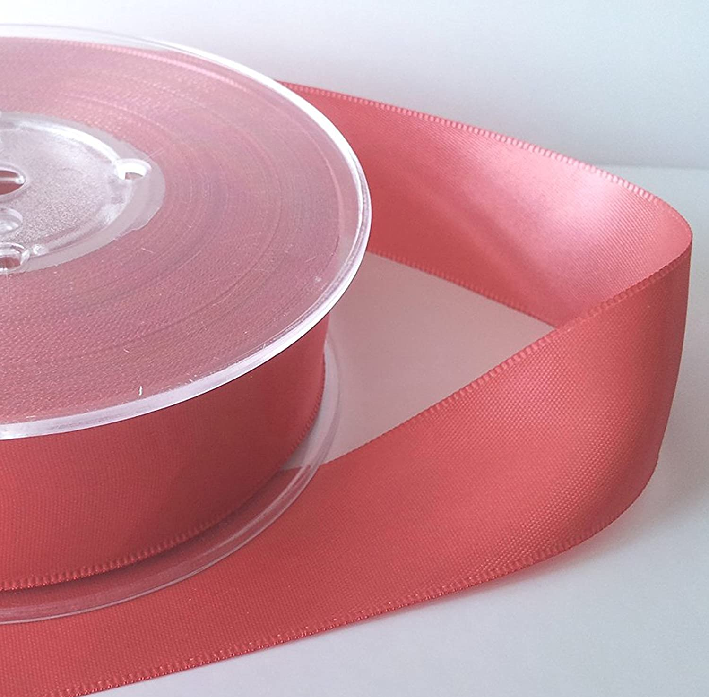 Per Metre 15mm Coral Glitter Satin