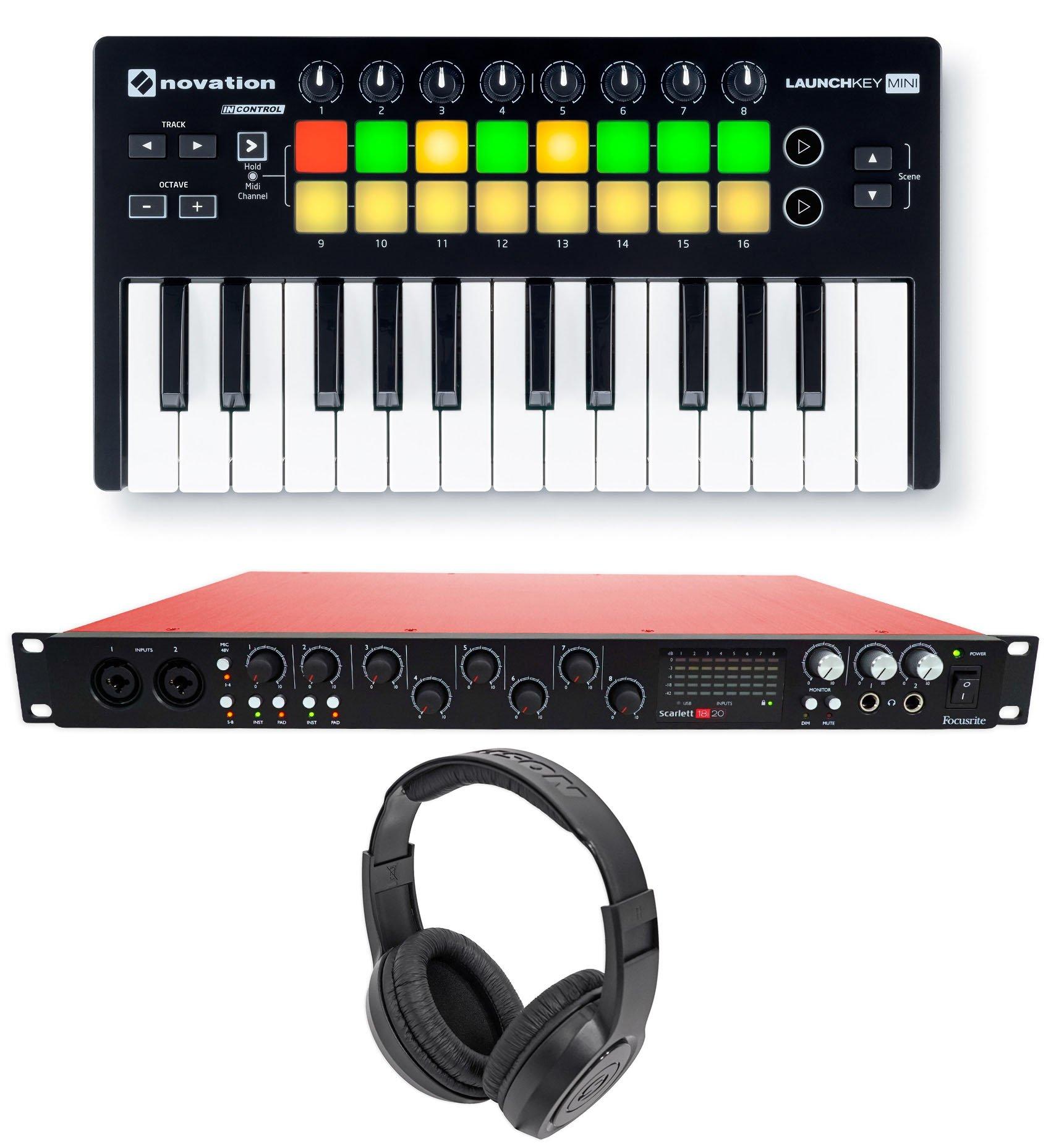 Focusrite SCARLETT 18I20 2.0 Audio Recording Interface+Launchkey Mini+Headphones