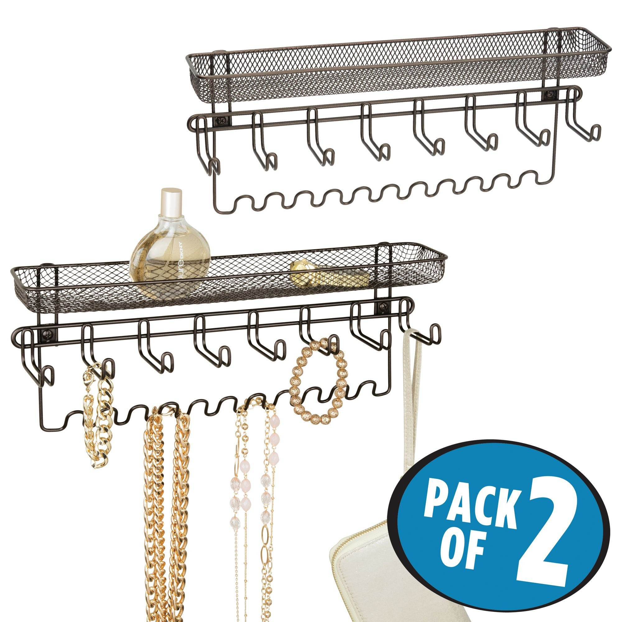 mDesign Closet Wall Mount Jewelry Accessory Organizer for Storage of Necklaces, Bracelets, Rings, Earrings, Sunglasses, Wallets – 8 Large Hooks/11 Small Hooks/1 Basket, Pack of 2, Bronze