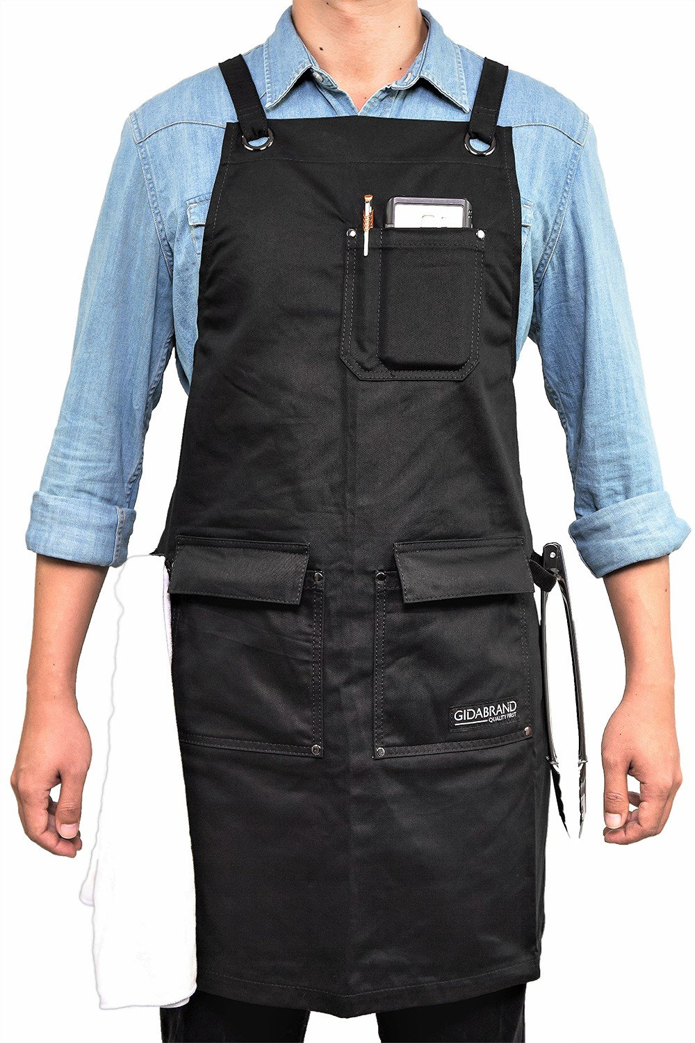 GIDABRAND Professional Grade Chef Kitchen Apron with Double Towel Loop – 10 oz Cotton for Cooking, BBQ and Grill – Men Women Design with 3 Pockets, Quick Release Buckle and Adjustable strap M to XXL by GIDABRAND