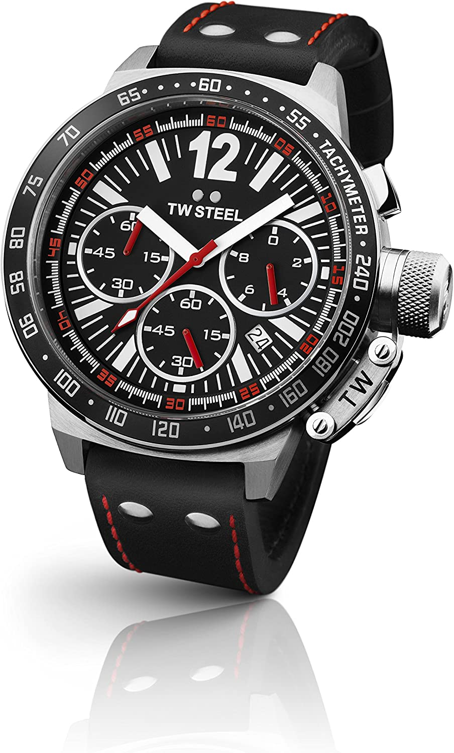 TW Steel Men s CEO Canteen Black Leather Chronograph Dial Watch