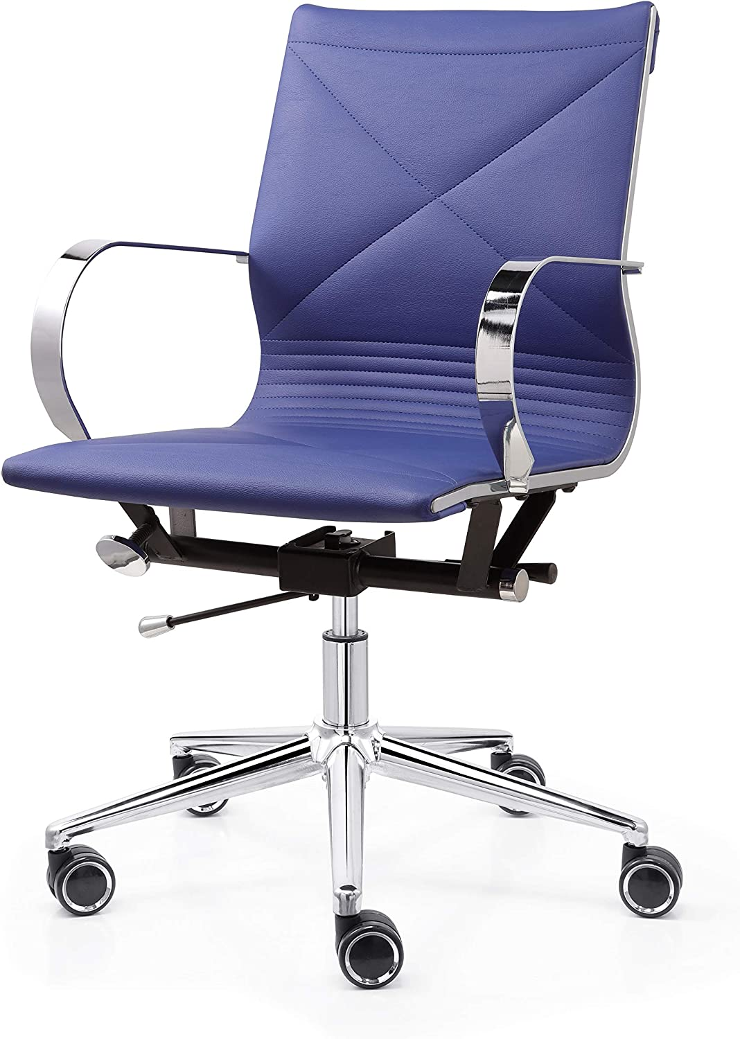 M365 Vegan Leather Ribbed Office Chair- Modern Design Executive Chair- Premium Quality Vegan Leather Seating- Chrome, Gold or Black Matte Frame- Optimal Comfort (Medium Blue)