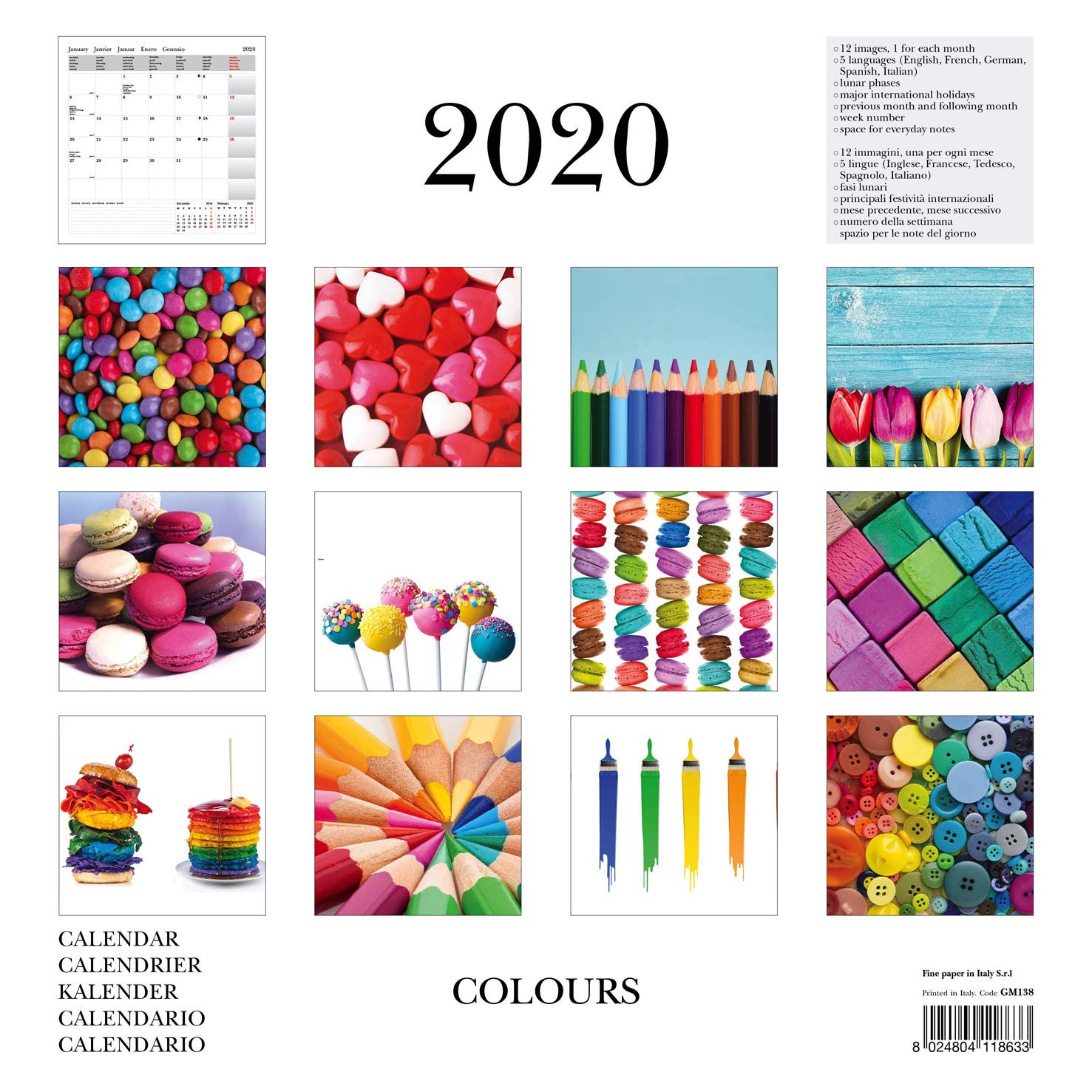 Calendario Fasi Lunari 2020.Calendario Da Parete 2020 Colours 30x30 Cm Gm138 Amazon