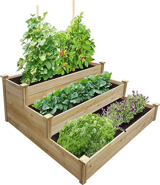 Greenes valla mejor valor 3-Tier cedro recaudado jardín cama ...