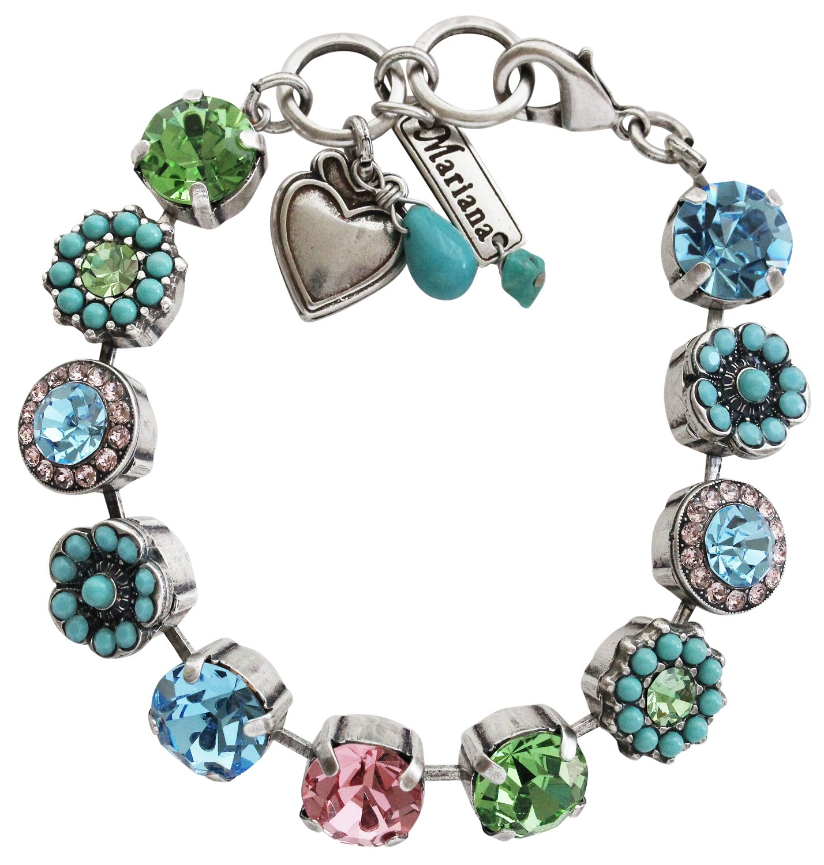 Mariana Silvertone Large Flower Shapes Mosaic Crystal Bracelet, 7'' Summer Fun Multi Color Blue Pink Green 4084 3711