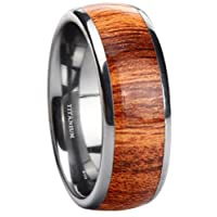 Titanium Mens KOA WOOD Inlay Titanium Ring 8mm Wide Unisex Wedding Engagement Band Ring
