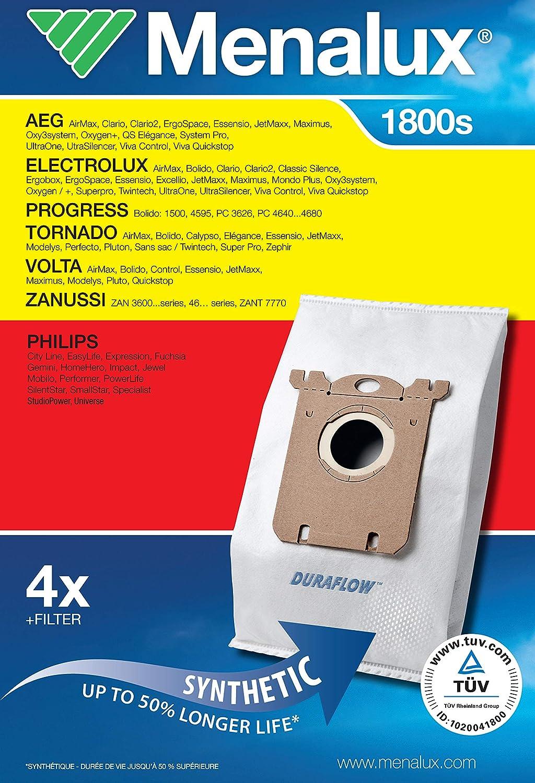 Menalux 1800 Pack con 5 bolsas y 1 filtro para aspiradores AEG ...