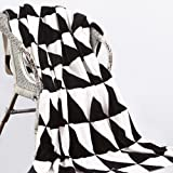 "NTBAY Minimalism Series Throw Blankets Double-layered Flannel Plush Velvety Super Soft Cozy Warm with Black and White Printed Pattern(70""x 78"", Triangle)"