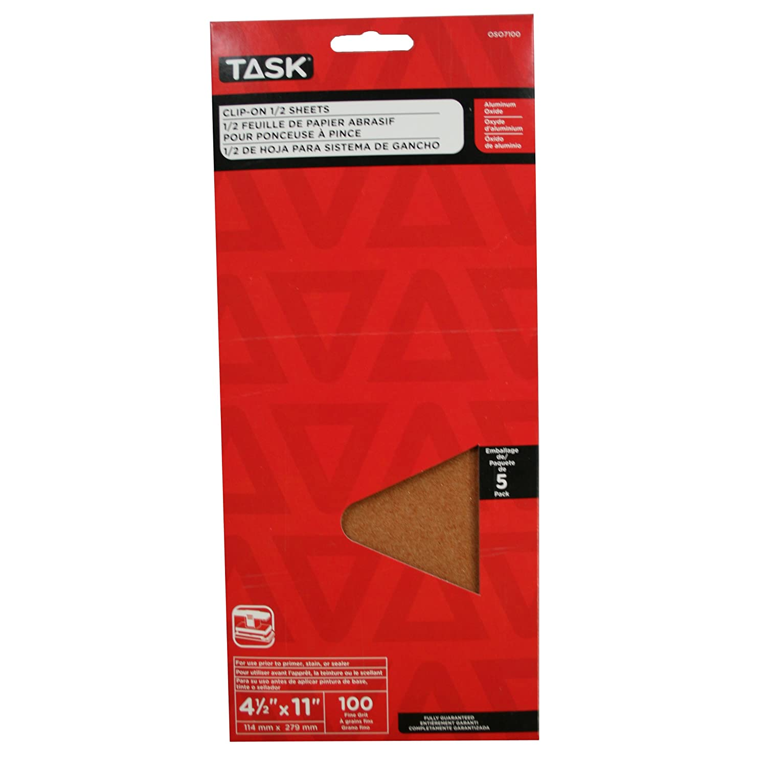 100 Grit 5-Pack LCM Team Task Tools OSO7100 4-1//2-Inch by 11-Inch Clip-On 1//2-Sheet Sandpaper Task Tools