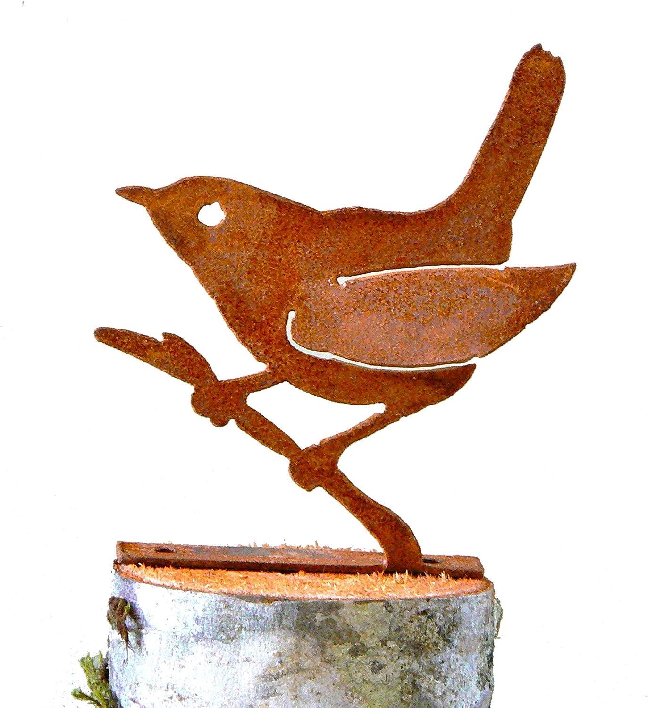 Elegant Garden Design Wren on a Branch, Steel Silhouette with Rusty Patina