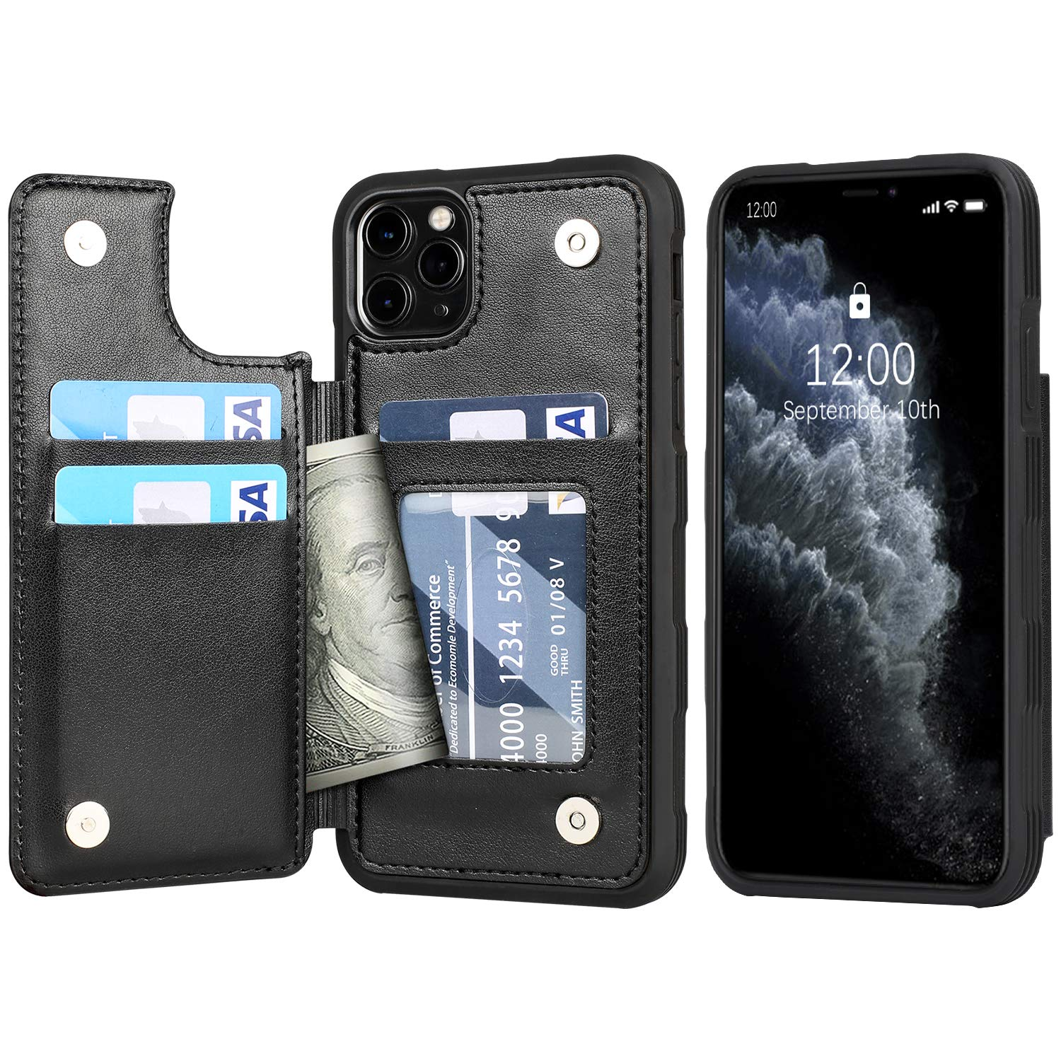 Arae Case for iPhone 11 pro max PU Leather Wallet Case with Card Pockets Back Flip Cover for iPhone 11 pro max 2019 6.5 inch (Black)
