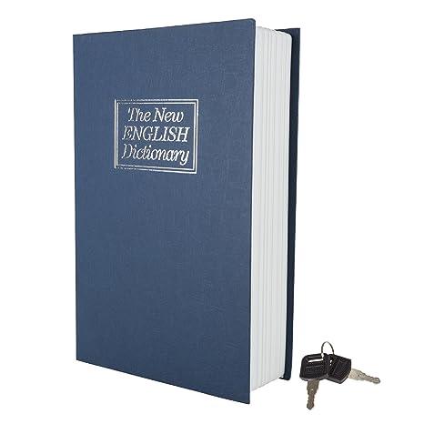 Marca Home Mini Diccionario desviación Libro Seguro con Cerradura con Llave, Metal