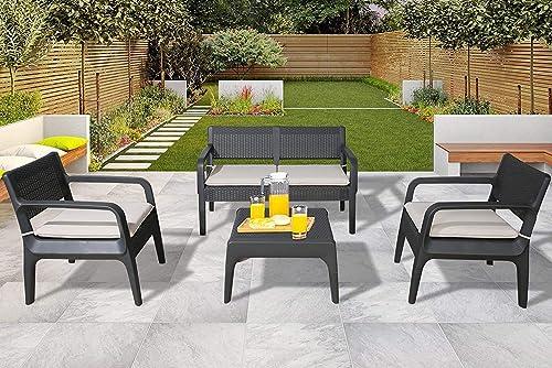 Ulax Furniture 4 Piece Outdoor Furniture Set Patio Conversation Set