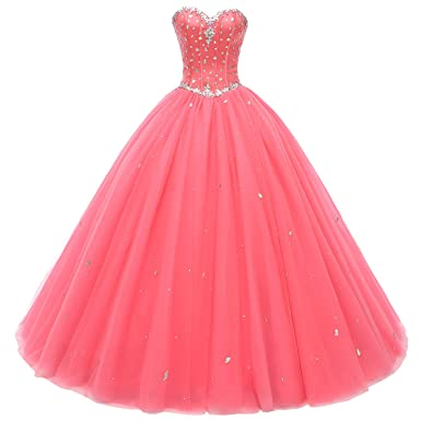 b08e909234c Beautyprom Women s Sweetheart Ball Gown Tulle Quinceanera Dresses Prom Dress  Coral US22W