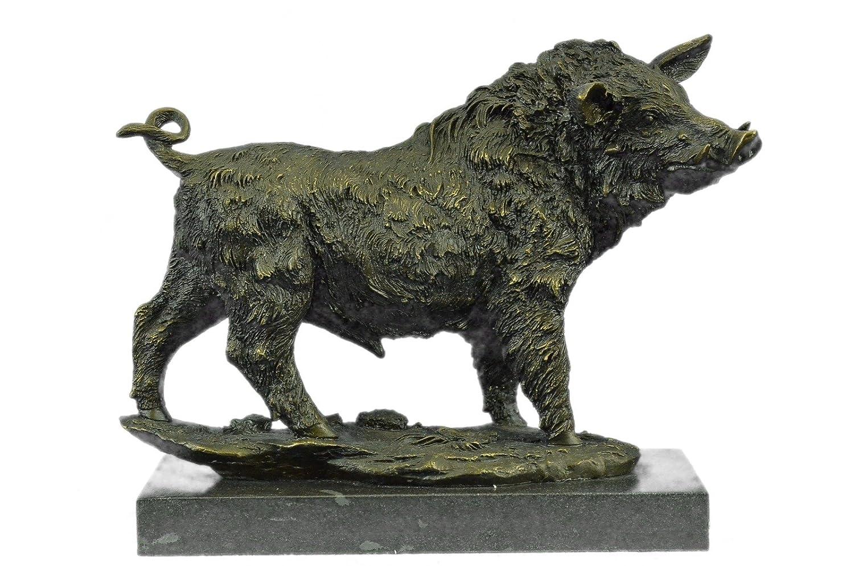 ハンドメイド ヨーロピアンブロンズ 彫刻 大 バリー 野生 ボア ピッグ アールデコ 大理石 ベース フィギュア ブロンズ像 -1X-YDW-031-装飾品 収集価値のあるギフト   B01M8I6KWA