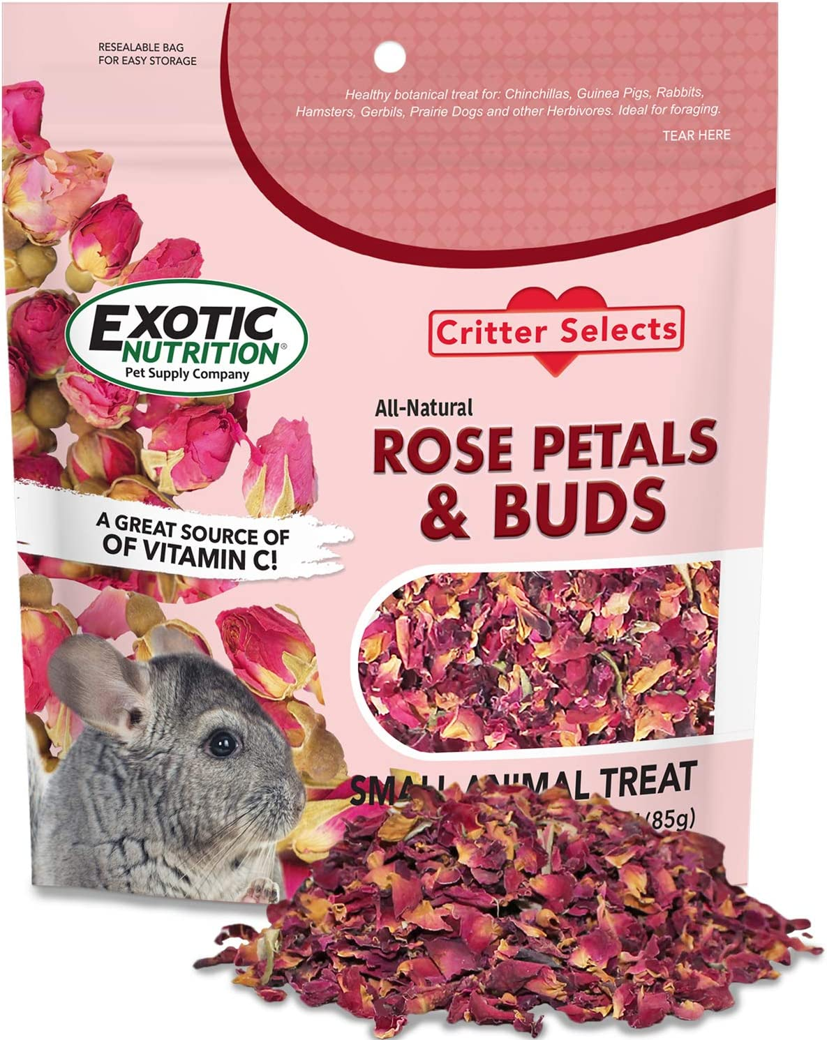 Rose Petals & Buds Treat (0.85 oz.) - Healthy Natural Dried Flower Herbivore Treat - Chinchillas, Guinea Pigs, Rabbits, Prairie Dogs, Degus, Hamsters, Rats, Squirrels, Sugar Gliders & Other Small Pets