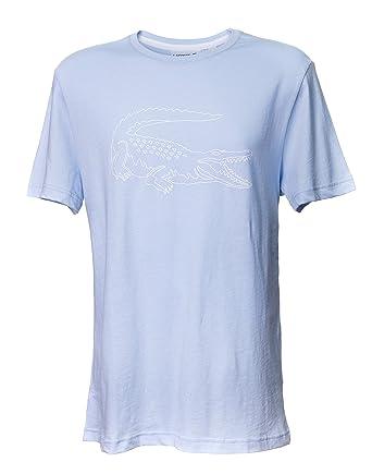 e667977b8fd478 Lacoste Men s Short Sleeve Croc Graphic Regular Fit T-Shirt (Light Blue) (