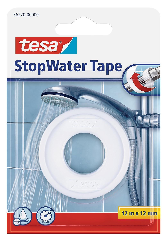 Tesa 56220 StopWater - Nastro di riparazione dell'impianto idraulico, 12m x 12mm, Bianco, 1 pz. 56220-00000-00
