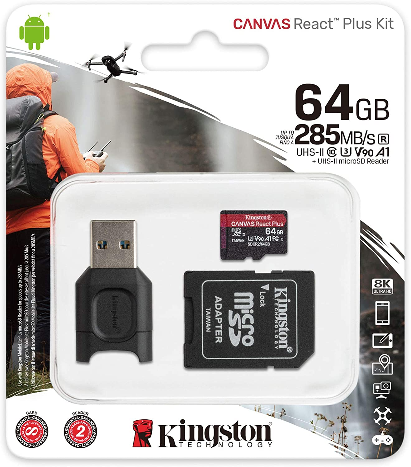 SanFlash Kingston 64GB React MicroSDXC for Alcatel A30 Tablet with SD Adapter 100MBs Works with Kingston