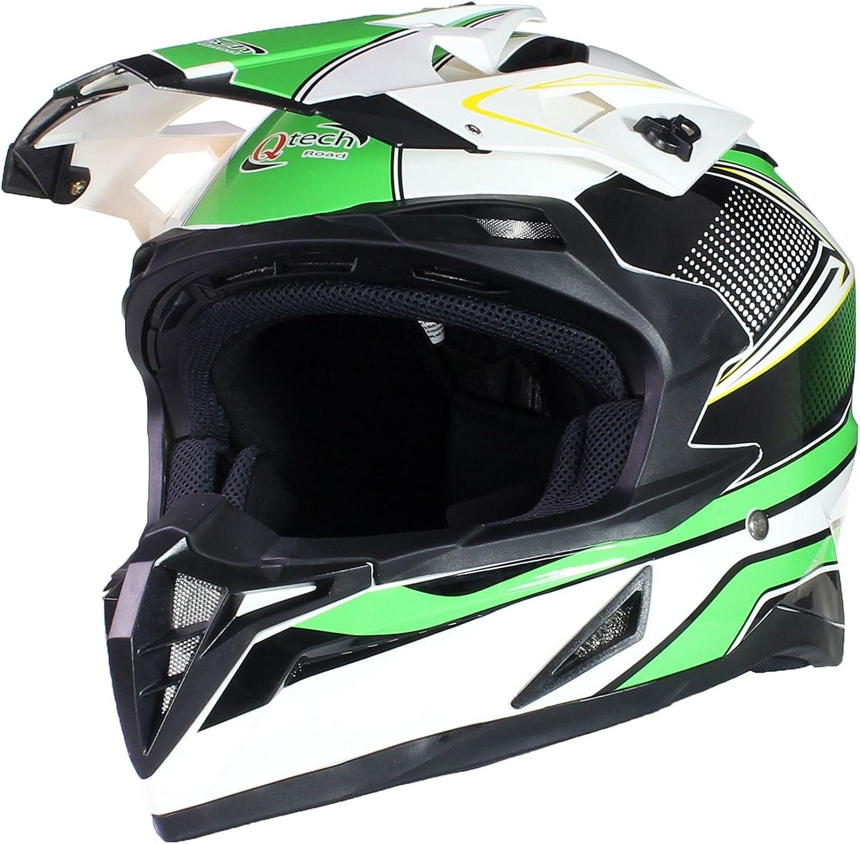 Qtech Casco de Motocross Todotorreno ECE22-05 Enduro MX ATV Motocicleta Azul M 57-58cm