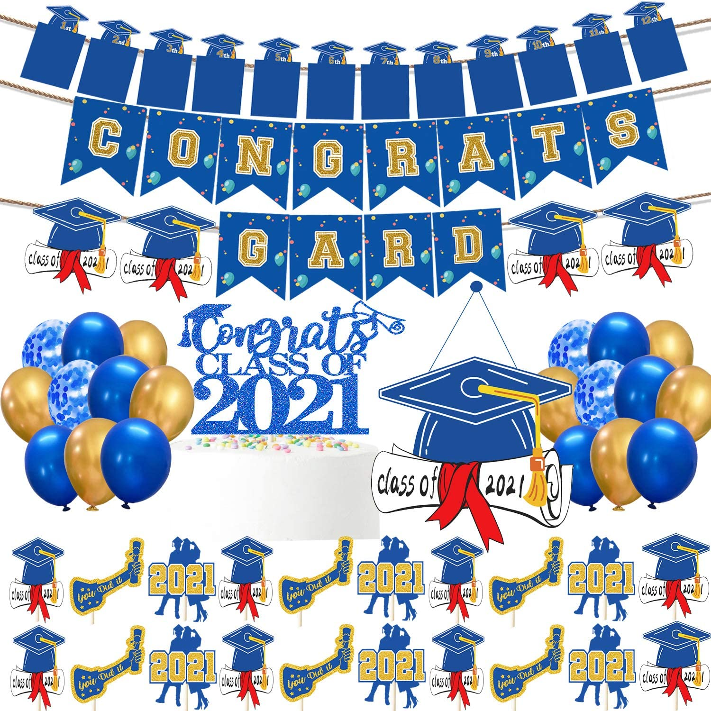 2021 Graduation Party Supplies Class Of 2021 Graduation Party Decorations Blue Graduation Banner Photo Banner Class of 2021 Cake Topper Cupcake Toppers Door Sign