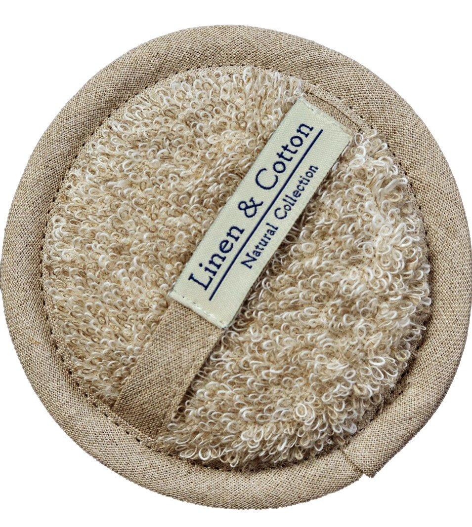 Dos Sangle Exfoliante en Lin Naturel Pour Le Bain AIRA, 60% Lin, 40% Coton - Blanc (15 x 70cm) Linen & Cotton