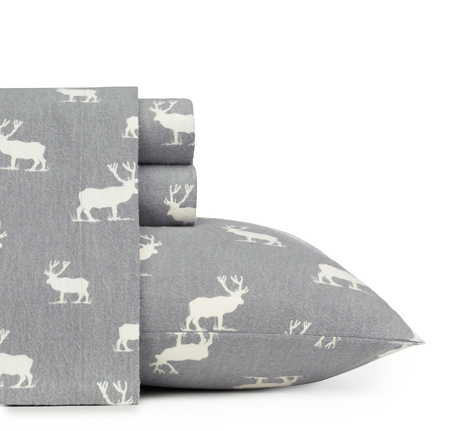 MISC 4pc Rustic Grey Elk Deer Theme Sheets Queen Set, Cotton Flannel, Southwestern, Deep Pocket, Cabin Lodge Cottage, Fully Elasticized Fitted, Animal