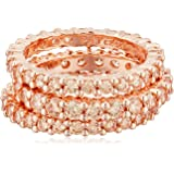 Rose Gold Plated Sterling Silver Champagne Cubic Zirconia Stacking All-Around Ring, Size 7