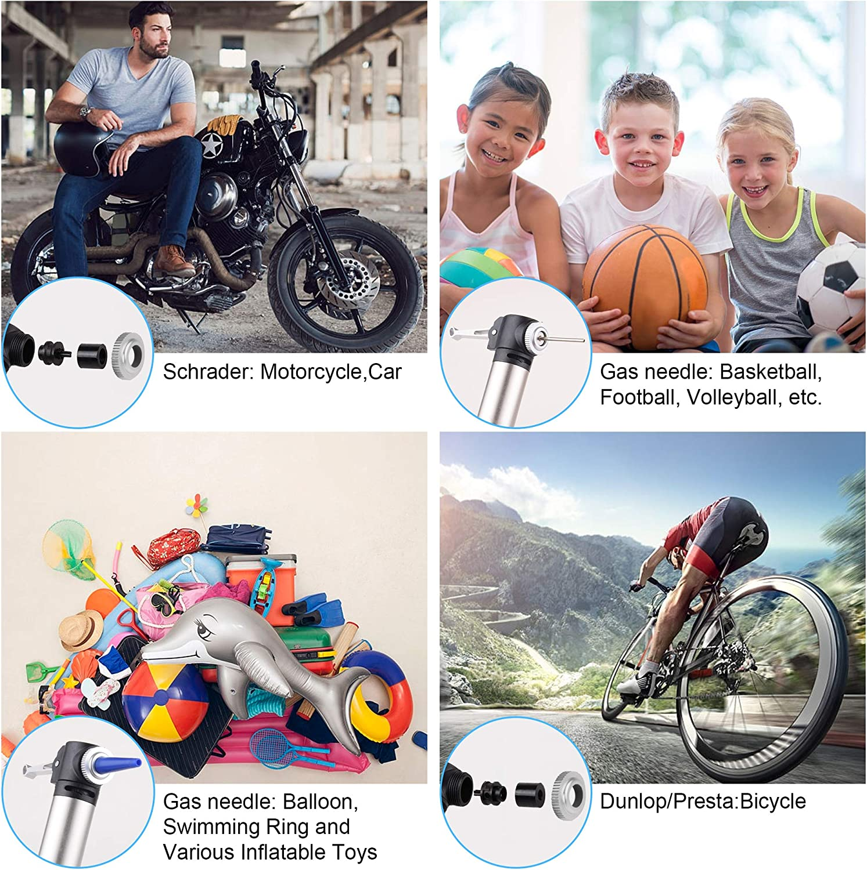 Cingfanlu Mini Bike Pump Bicycle Tire Portable Frame Pump 120 PSI High Pressure Bicycle Air Pump Fits Presta /& Schrader Floor Bike Tyre Pump for Road Mountain BMX Bikes Sports Balls,Inflatables Items