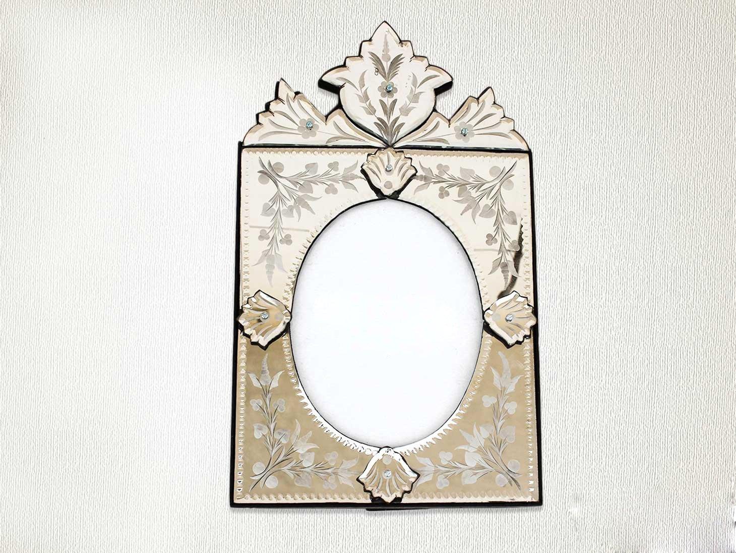 Indianshelf Handmade Decorative Clear Wood Glass and Iron Vintage Venetian Photo Frame Home Decor Gift Item