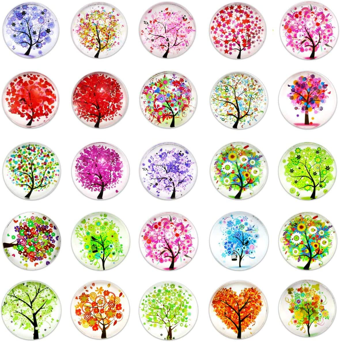 BcPowr 24Pcs Tree Refrigerator Magnets,Beautiful Glass Refrigerator Magnets Fridge Stickers for Office Cabinets Whiteboards Calendar Magnet, Whiteboard Magnets Tree of Life Decorative Photo Abstract