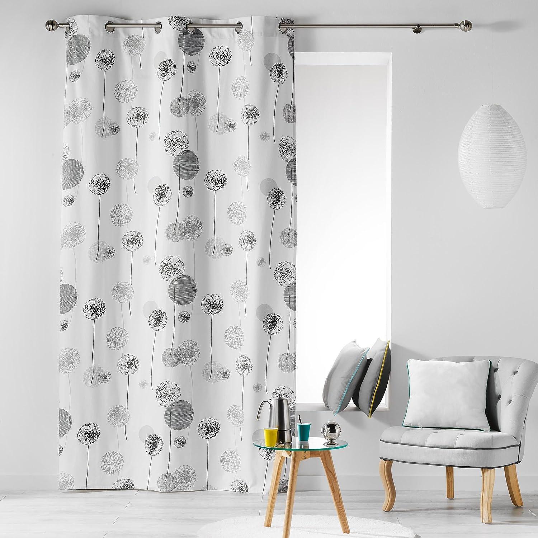 COTON D'INTERIEUR TINA Indoor Cotton Curtain with Eyelets, Cotton, blue, 140 x 240 cm L3C 1606062
