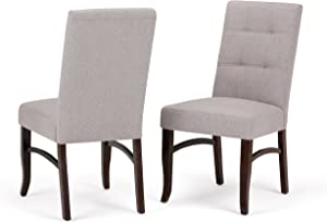 Simpli Home Ezra Contemporary Deluxe Dining Chair (Set of 2) in Cloud Grey Linen Look Fabric